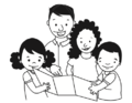 Hombre lee a dos niñas y un niño.png