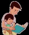 Hombre lee a niño sentado en su regazo - ExE lectura.png
