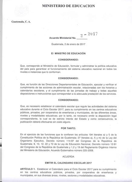 Archivo:Acuerdo Ministerial No. 2-2017 Calendario escolar 2017.pdf