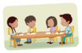 Dos niños y dos niñas escribiendo en una mesa - ExE lectura.png