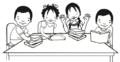 Dos niños y dos niñas leen en la mesa.png