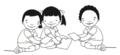 Dos niños y niña usando papel.png