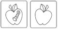 Manzana con gusano y sin gusano.png
