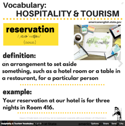 Hospitality and tourism vocabulary - reservation.png