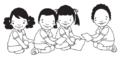 Dos niños y dos niñas leen y juegan.png