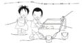 Niña y niño lavando ropa en una pila.png